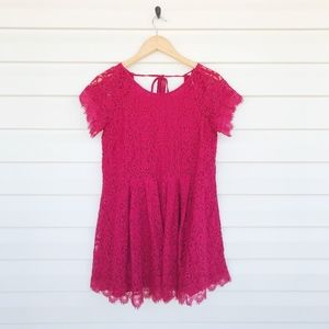 Free People Lace Short Sleeve Mini Dress